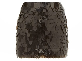 Pippa Aje Sequinned Silk Mini Skirt - Womens - Black