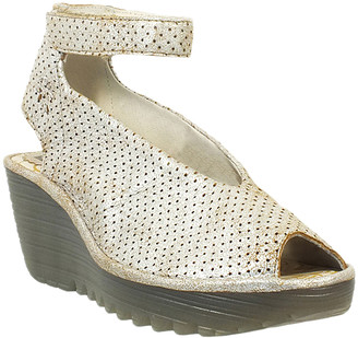 Fly London Women's Sandals 051 - Pearl Yala Perforated Ankle-Strap Leather Wedge - Women