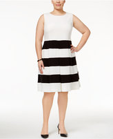 Nine West Plus Size Striped Fit & Flare Dress