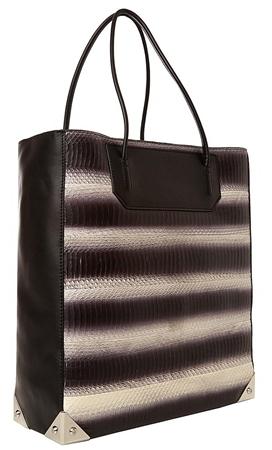 Alexander Wang Prisma Tote Bag In Water Snakeskin With Rhodium