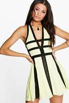 boohoo Vita Contrast Colour Cut Out Detail Skater Dress lemon
