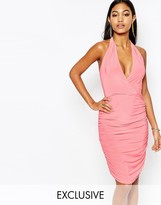 Club L Wrap Front T Bar Back Midi Dress