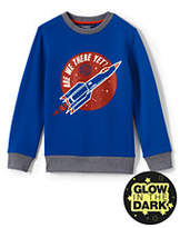 Lands' End Boys Husky Graphic Crewneck Sweatshirt-Racing Yellow