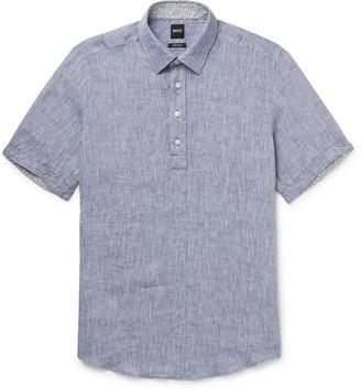 HUGO BOSS Melange Linen Half-Placket Shirt