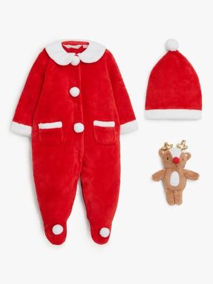John Lewis & Partners Baby Santa Fleece Onesie Set, Red