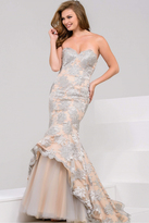 Jovani 40081 Strapless Floral Mermaid Gown
