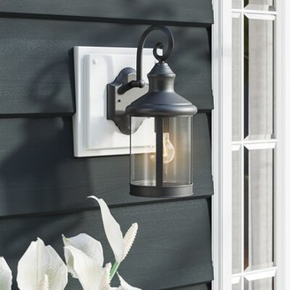 """Sol 72 Outdoor Turrell 1 - Bulb Outdoor Wall Lantern Fixture Finish: Rubbed Bronze, Size: 15.95"""" H x 6.61"""" W x 8.27"""" D"""