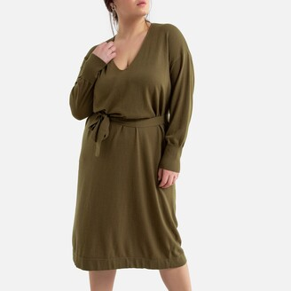 La Redoute Collections Plus V-Neck Jumper Dress with Tie-Waist
