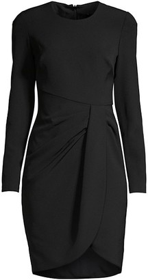 Black Halo Ivana Ruched Faux Wrap Sheath Dress