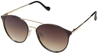 Jessica Simpson Round Enamel Brow Bar (Brown/Gold) Fashion Sunglasses