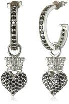 """King Baby Studio Crowned Heart"""" Small Pave Black Cubic Zirconia Crowned Heart Hoop Earrings"""