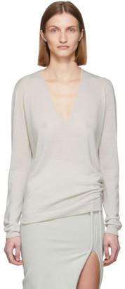 Rick Owens Off-White Merino Soft V-Neck Sweater