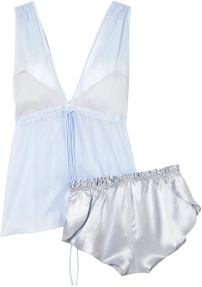 Three Graces London Nellie + Arie Cotton-voile And Silk-charmeuse Pajama Set