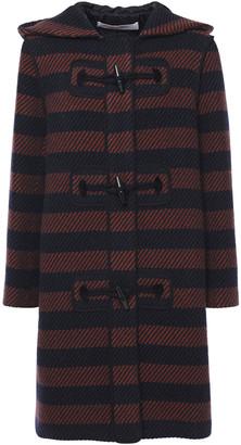 See by Chloe Striped Wool-blend Twill Hooded Coat