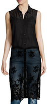 i jeans by Buffalo Georgie Sleeveless Collared Button-Front Lace Tunic