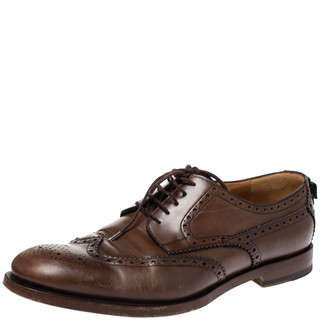 Gucci Brown Brogue Leather Lace Up Derby Size 45