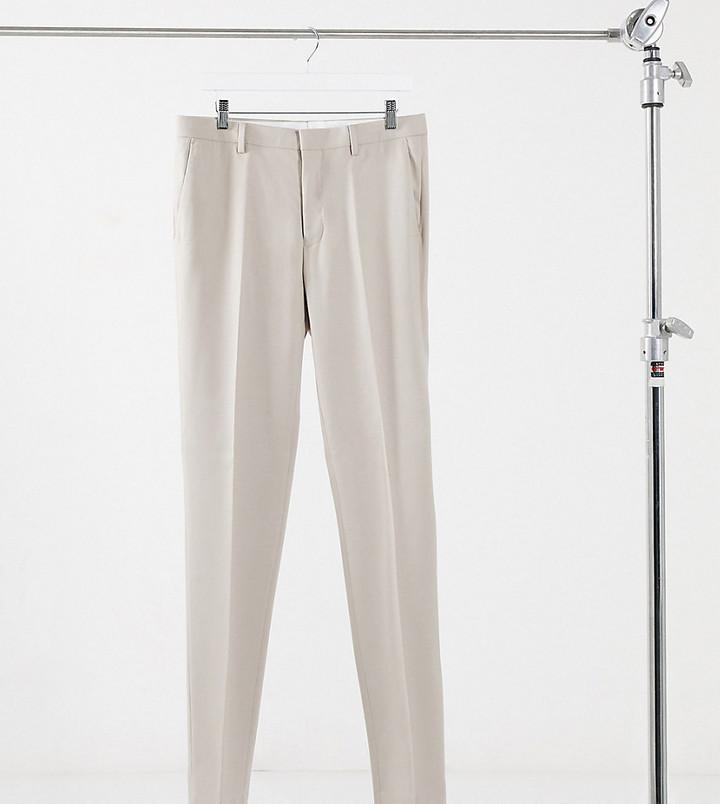 Topman Big & Tall skinny suit trouser in stone