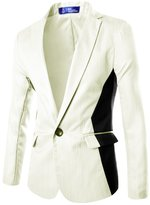 uxcell Men Strips Design Textured Contrast Color One Button Slim Fit Blazer