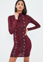 Missguided Burgundy Turtle Neck Snake Print Bodycon Dress