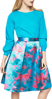 Closet Full Circle Pleated Skirt, Turquoise/Fuchsia
