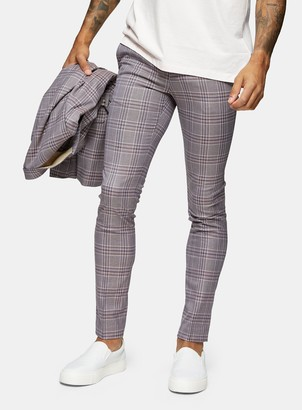 Topman Lilac Check Super Skinny Fit Suit Trousers