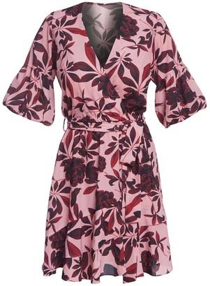Desert Rose Summer Wrap Dress With Frill Detail