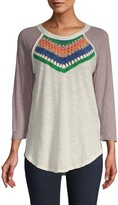 Free People Colorblock Raglan-Sleeve Cotton-Blend Top