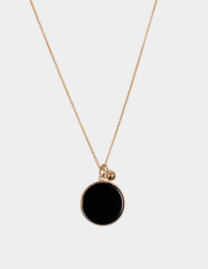 ginette_ny Ever Onyx Disc 18-karat rose gold necklace