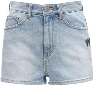 we11done Logo Cotton Denim Shorts