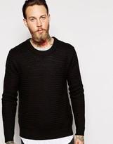 Dr Denim Crew Jumper Weave Textured Knit - Black
