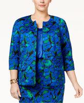 Kasper Plus Size Floral-Print Open-Front Jacket