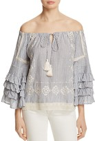Love Sam Off-the-Shoulder Ruffle Stripe Top
