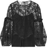 Oscar de la Renta Grosgrain-trimmed Silk-lace Blouse - Black