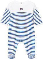 Petit Bateau Blue and White Stripe Babygrow with Anchor Patch