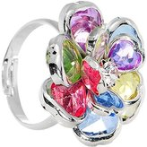 Body Candy Small Rainbow Faceted Blooming Flower Adjustable Ring