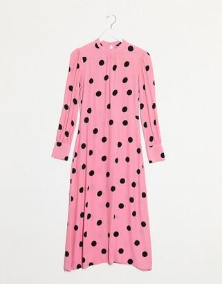 New Look high neck polka dot midi dress in pink