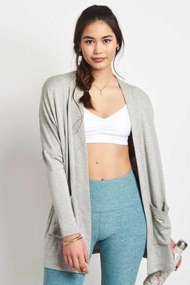 Beyond Yoga Classic Light Heather Grey Dolman Cardigan - XS - Grey