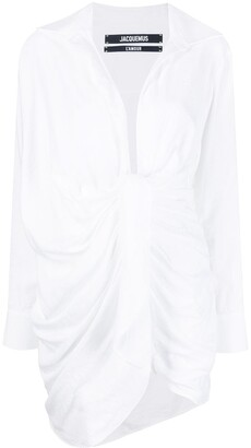 Jacquemus La robe Bahia knotted shirt-dress