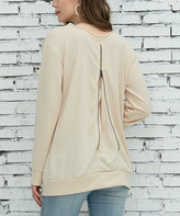Z Avenue Women's Tunics Eggshell - Eggshell Back-Zip Long-Sleeve Sweatshirt - Women & Plus