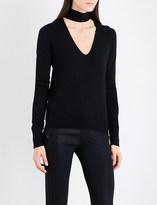 Theory Tie V-neck silk-blend jumper
