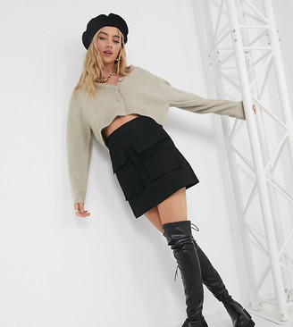 Collusion cropped cardigan in beige