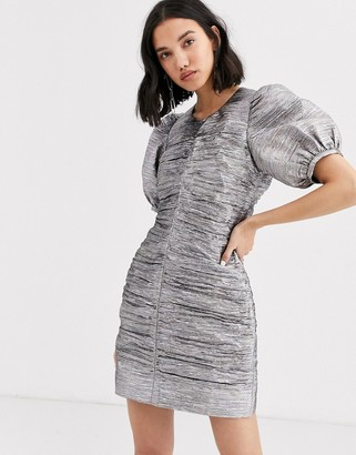 2nd Day Edition Dandy metallic puff sleeve mini dress