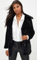 PrettyLittleThing Black Mid Length Faux Fur Coat