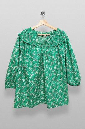Topshop Womens **Maternity Floral Print Puff Sleeve Top - Green