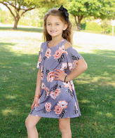Gray & Peach Floral Open-Shoulder Dress - Toddler & Girls