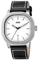 Edwin EW1G016L0014 Men's Stainless Steel Black Leather Band Dial Watch