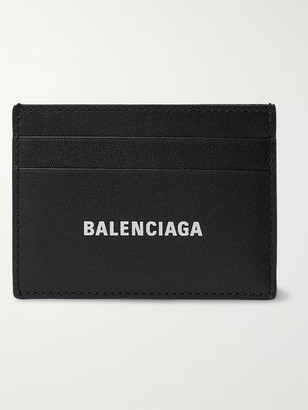 Balenciaga Logo-Print Full-Grain Leather Cardholder