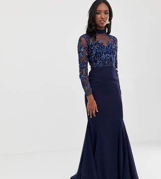 Virgos Lounge Tall sheer embellished long sleeve maxi dress in navy