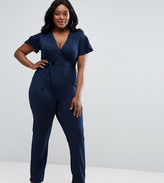 Club L Plus Jumpsuit With Frill Sleeve