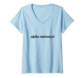 Pi Womens Alpha Omicron Letters Sorority Greek Life Sisters Group V-Neck T-Shirt